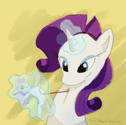 Size: 1280x1267 | Tagged: safe, artist:kirbyliscious, sweetie belle, pony, unicorn, atg 2021, doll, female, fixing, glowing horn, horn, magic, newbie artist training grounds, solo, telekinesis, thread, toy