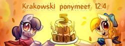 Size: 851x315 | Tagged: artist needed, safe, oc, cake, food, krakowski ponymeet, polish, ponymeet