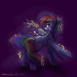 Size: 1280x1280 | Tagged: safe, artist:kirbyliscious, rainbow dash, pegasus, pony, atg 2021, electricity, female, newbie artist training grounds, solo, spread wings, wings