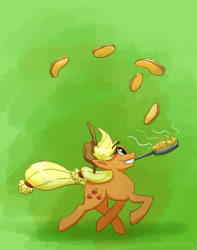 Size: 1280x1622 | Tagged: safe, artist:kirbyliscious, applejack, earth pony, pony, atg 2021, female, food, frying pan, mouth hold, newbie artist training grounds, pancakes, solo