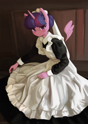 Size: 1500x2101 | Tagged: safe, artist:mrscroup, twilight sparkle, alicorn, anthro, clothes, cute, digital art, dress, female, floating wings, looking at you, maid, maid headdress, maidlight sparkle, mare, solo, twiabetes, twilight sparkle (alicorn), wings