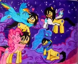 Size: 2000x1652   Tagged: safe, artist:karadeg, pinkie pie, princess luna, rainbow dash, rarity, oc, oc:karadeg, hug, ponysona