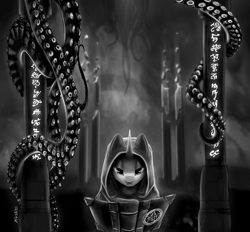 Size: 3330x3086   Tagged: safe, artist:kviksi, pony, unicorn, book, cape, clothes, looking at you, lovecraft, monochrome, open mouth, pentagram, pillar, robe, runes, solo, tentacles