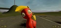 Size: 1280x600   Tagged: safe, artist:deratomherbst, oc, oc:crazy fluff, pony, 3d, insanity