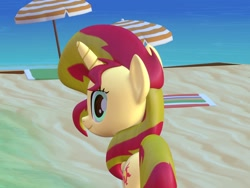 Size: 1600x1200   Tagged: safe, artist:wissle, sunset shimmer, pony, unicorn, 3d, absurd resolution, atg 2021, beach, blender, female, looking at you, looking back, looking back at you, mare, newbie artist training grounds, sand, simple background, smiling, solo, water