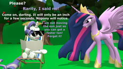 Size: 1920x1080   Tagged: safe, artist:red4567, rarity, twilight sparkle, alicorn, the last problem, 3d, atg 2021, chair, newbie artist training grounds, older, older rarity, older twilight, princess twilight 2.0, source filmmaker, sunbathing, tanning mirror, twilight sparkle (alicorn)