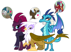 Size: 3355x2450 | Tagged: safe, alternate version, artist:davidsfire, artist:melisareb, artist:peachspices, edit, edited screencap, screencap, vector edit, dumbbell, fizzlepop berrytwist, garble, gilda, princess ember, stygian, tempest shadow, dragon, griffon, pony, unicorn, griffon the brush off, my little pony: the movie, shadow play, sonic rainboom (episode), sweet and smoky, .svg available, bedroom eyes, beret, cloak, clothes, emble, female, gildabell, hat, heart, high res, inkscape, looking at you, male, mare, robe, scarf, shipping, shirt, show accurate, simple background, smiling, speech bubble, straight, striped shirt, tempgian, transparent background, trio, trio female, tsundere, vector, waifu