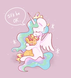 Size: 983x1073 | Tagged: safe, artist:typhwosion, princess celestia, sunset shimmer, alicorn, pony, unicorn, comforting, crying, cute, cutelestia, dialogue, duo, duo female, eyes closed, female, hug, mare, momlestia, open mouth, profile, shimmerbetes, simple background, sitting, smiling, speech bubble, spread wings, wings