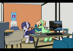 Size: 4092x2893 | Tagged: safe, artist:syntiset, princess celestia, oc, oc only, oc:sapphie, oc:violet evergard, pegasus, pony, unicorn, background, book, business suit, chair, clothes, commission, duo, ear piercing, earring, female, freckles, glasses, horn, jewelry, keyboard, lock screen, mare, microsoft, monitor, obey, office, pegasus oc, pen, piercing, ponybooru, table, unicorn oc, water cooler, windows, windows 10