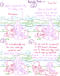 Size: 4779x6013 | Tagged: safe, artist:adorkabletwilightandfriends, lily, lily valley, spike, dragon, earth pony, pony, comic:adorkable twilight and friends, adorkable, adorkable friends, comic, conversation, couple, cute, dating, dork, eyes on the prize, forest, humor, lake, lilybetes, love, lying down, mountain, nature, on back, one eye closed, one eye open, outdoors, relationship, relationships, scenery, sitting, slice of life