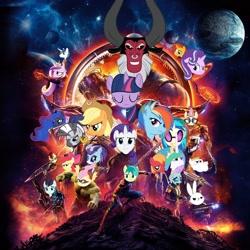 Size: 1600x1600   Tagged: safe, angel bunny, apple bloom, applejack, autumn blaze, big macintosh, bulk biceps, coloratura, dj pon-3, fluttershy, lord tirek, moondancer, ocellus, pinkie pie, princess cadance, princess celestia, princess luna, rainbow dash, rarity, sandbar, shining armor, starlight glimmer, twilight sparkle, vinyl scratch, zecora, alicorn, changedling, changeling, earth pony, kirin, minotaur, pegasus, pony, unicorn, zebra, alternate universe, avengers: infinity war, chrystal, crossover, flutterhulk, mane six, marvel, rara, the avengers