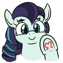 Size: 404x406   Tagged: safe, artist:jargon scott, coloratura, earth pony, pony, bust, cute, female, hoofsies, looking at you, mare, rara, rarabetes, simple background, solo, underhoof, white background