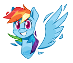 Size: 1150x1000 | Tagged: safe, artist:imaplatypus, rainbow dash, pegasus, bust, colored pupils, cute, dashabetes, looking at you, portrait, smiling, solo, spread wings, wings