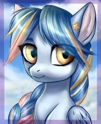 Size: 705x859 | Tagged: safe, artist:megabait, oc, oc only, oc:seashore swirl, pegasus, pony, braid, bust, portrait, solo, stars