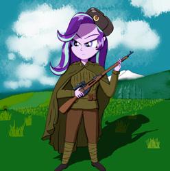 Size: 1280x1289 | Tagged: safe, artist:javisparkle, starlight glimmer, human, equestria girls, clothes, gun, military uniform, mosin nagant, rifle, solo, soviet union, uniform, weapon