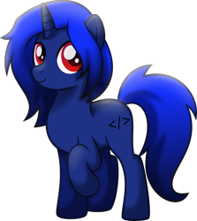 Size: 3124x3500 | Tagged: safe, artist:limedazzle, oc, oc only, oc:xeno (iraven), pony, unicorn, horn, movie accurate, raised hoof, solo, vector
