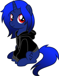 Size: 2729x3500 | Tagged: safe, artist:limedazzle, oc, oc only, oc:xeno (iraven), pony, unicorn, clothes, hoodie, horn, sitting, solo, vector