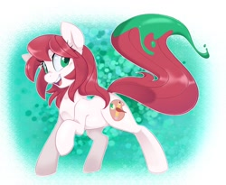 Size: 1500x1228 | Tagged: safe, artist:jessy, oc, oc only, oc:palette swap, earth pony, pony, earth pony oc, female, mare, open mouth, paint, raised hoof, raised leg, raised tail, solo, tail