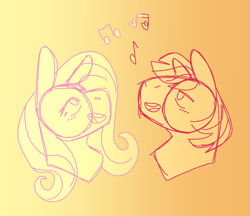 Size: 1221x1053 | Tagged: safe, artist:prettyponyblog, big macintosh, fluttershy, earth pony, pegasus, bust, female, fluttermac, gradient background, heart, male, mare, music notes, shipping, singing, sketch, stallion, straight