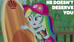 Size: 1280x720 | Tagged: safe, edit, edited screencap, editor:quoterific, screencap, rainbow dash, blue crushed, equestria girls, equestria girls series, belly button, female, hat, open mouth, sleeveless, solo, surfboard