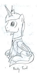 Size: 675x1336 | Tagged: safe, artist:parclytaxel, oc, oc only, oc:prince endearment, alicorn, pony, series:nightliner, lineart, male, monochrome, pencil drawing, sitting, solo, stallion, traditional art