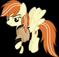 Size: 1421x1358 | Tagged: safe, artist:pegasski, oc, oc:hurricane, pegasus, pony, clothes, enclave, female, mare, simple background, solo, transparent background