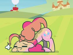 Size: 1800x1350 | Tagged: safe, artist:flutterluv, pinkie pie, earth pony, pony, atg 2021, crepuscular rays, mushroom kingdom, newbie artist training grounds, princess peach's castle, solo, super mario bros., super mario odyssey