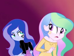 Size: 1080x822   Tagged: safe, artist:sia.brony, princess celestia, princess luna, equestria girls, alternative cutie mark placement, angry, bust, clothes, cutie mark, cutie mark on equestria girl, duo, eyelashes, female, gradient background, siblings, sisters, younger