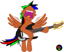 Size: 3100x2514 | Tagged: safe, artist:kyoshyu, oc, oc:bucolique, pegasus, bass guitar, high res, male, musical instrument, simple background, solo, stallion, transparent background, vector