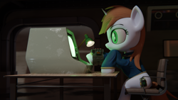 Size: 3840x2160   Tagged: safe, artist:dieanondie, oc, oc:littlepip, pony, fallout equestria, 3d, blender, female
