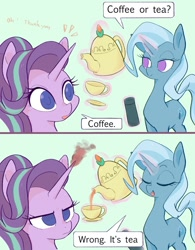 Size: 1600x2048 | Tagged: safe, artist:noupu, starlight glimmer, trixie, pony, unicorn, anger magic, eyes closed, food, glowing horn, horn, inconvenient trixie, magic, open mouth, speech bubble, starlight is not amused, tea, teacup, telekinesis, that pony sure does love teacups, trolling, unamused
