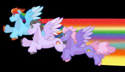 Size: 1280x732 | Tagged: safe, artist:itstechtock, rainbow dash, rainbowshine, oc, pony, flying, rainbow trail, simple background, transparent background