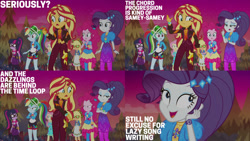 Size: 1280x720   Tagged: safe, edit, edited screencap, editor:quoterific, screencap, applejack, fluttershy, pinkie pie, rainbow dash, rarity, sci-twi, sunset shimmer, twilight sparkle, equestria girls, equestria girls series, sunset's backstage pass!, spoiler:eqg series (season 2), clothes, crossed arms, cutie mark, cutie mark on clothes, female, geode of empathy, geode of shielding, geode of sugar bombs, geode of super speed, geode of super strength, geode of telekinesis, glasses, hairpin, humane five, humane seven, humane six, magical geodes, music festival outfit, open mouth, ponytail, sunset