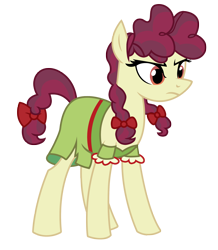 Size: 2180x2495 | Tagged: safe, artist:three uncle, hilly hooffield, earth pony, pony, the hooffields and mccolts, background pony, bow, clothes, female, hair bow, hooffield family, mare, pigtails, pose, simple background, solo, transparent background, vector