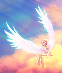 Size: 1712x2018   Tagged: safe, artist:limreiart, oc, oc only, oc:lighty dust, human, pegasus, choker, cloud, crossed legs, female, humanized, humanized oc, large wings, looking up, multicolored hair, nimbus, not sunset shimmer, pegasus oc, sitting, smiling, solo, wings