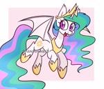 Size: 1750x1500 | Tagged: safe, artist:handgunboi, princess celestia, alicorn, bat pony, pony, female, mare, simple background, solo