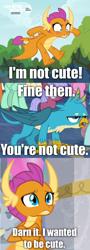 Size: 738x2048 | Tagged: safe, edit, edited screencap, screencap, gallus, smolder, blushing, comic, i'm not cute, screencap comic