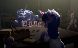 Size: 1920x1200   Tagged: safe, artist:amarthgul, pinkie pie, princess luna, spike, twilight sparkle, alicorn, earth pony, pony, unicorn, card, fanfic art, magic