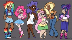 Size: 7210x4080   Tagged: safe, artist:carconutty, angel bunny, applejack, fluttershy, pinkie pie, rainbow dash, rarity, twilight sparkle, human, rabbit, alternate hairstyle, animal, applejack's hat, belly button, belt, black background, blushing, boots, bow, bowtie, choker, chubby, clothes, converse, cowboy boots, cowboy hat, dark skin, dress, ear piercing, earring, female, flats, grin, hair bow, hat, humanized, jeans, jewelry, leg warmers, lipstick, makeup, mane six, midriff, one eye closed, open mouth, pants, paper, piercing, rainbow socks, roller skates, shoes, shorts, simple background, skirt, smiling, socks, striped socks, tanktop, wink