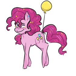 Size: 1080x1080   Tagged: safe, artist:carconutty, pinkie pie, earth pony, pony, balloon, blushing, ear piercing, earring, female, jewelry, mare, piercing, simple background, solo, white background