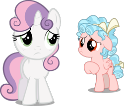 Size: 4318x3693 | Tagged: safe, artist:cyanlightning, artist:digimonlover101, edit, editor:slayerbvc, vector edit, cozy glow, sweetie belle, pegasus, unicorn, cozybetes, cute, female, filly, freckles, looking back, raised hoof, sad, simple background, transparent background, vector, woobie