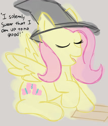Size: 3000x3500 | Tagged: safe, artist:demitri, fluttershy, pegasus, pony, eyes closed, harry potter, hat, newbie artist training grounds, wizard hat