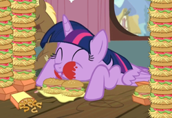 Size: 764x526   Tagged: safe, edit, screencap, coco crusoe, twilight sparkle, alicorn, pony, twilight time, animated, burger, cute, eating, eyes closed, female, food, gif, hay burger, herbivore, ketchup, loop, majestic as fuck, male, mare, messy, messy eating, onion horseshoes, puffy cheeks, sauce, that pony sure does love burgers, twilight burgkle, twilight slobble, twilight sparkle (alicorn)