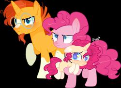 Size: 3981x2919   Tagged: safe, artist:kurosawakuro, pinkie pie, sunburst, pony, unicorn, female, filly, male, offspring, parent:pinkie pie, parent:sunburst, parents:pinkieburst, pinkieburst, shipping, simple background, straight, transparent background