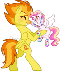 Size: 643x768   Tagged: safe, artist:kurosawakuro, spitfire, pony, bandaid, base used, boop, female, filly, holding a pony, simple background, transparent background