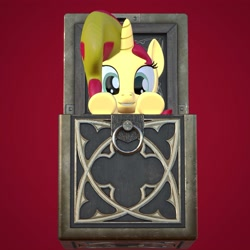 Size: 4000x4000   Tagged: safe, artist:wissle, sunset shimmer, pony, unicorn, 3d, absurd resolution, atg 2021, blender, box, cube, diablo 2, female, horadric cube, mare, newbie artist training grounds, pony in a box, simple background, solo