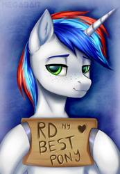 Size: 826x1195   Tagged: safe, artist:megabait, oc, pony, unicorn, freckles, sign
