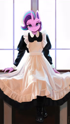 Size: 1600x2814 | Tagged: safe, artist:mrscroup, starlight glimmer, unicorn, anthro, clothes, cute, female, french maid, glimmerbetes, looking at you, maid, mare, window