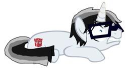 Size: 1232x688   Tagged: safe, artist:robertsonskywa1, pony, unicorn, autobot symbol, base used, eyeglasses, glasses, male, photo, scared, solo, stallion, transformers, wheeljack