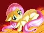 Size: 1024x768   Tagged: safe, artist:ファスナー, fluttershy, pegasus, pony, blushing, cute, daaaaaaaaaaaw, female, floppy ears, grooming, looking sideways, mare, preening, shy, shyabetes, solo, wooden floor